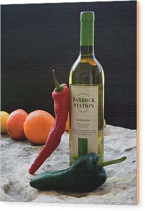 Chilis Wine And Citrus Wood Print