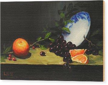 China Bowl And Fruits Wood Print