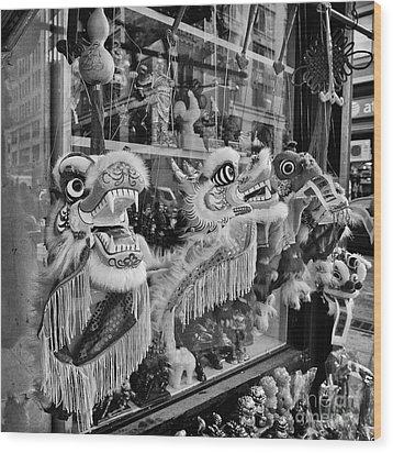 Chinatown Dragons Nyc Wood Print by John Farnan