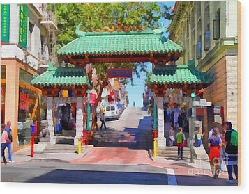 Chinatown Gate In San Francisco . 7d7139 Wood Print by Wingsdomain Art and Photography