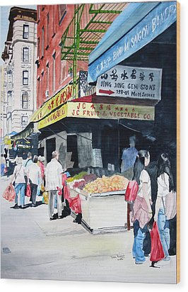 Wood Print featuring the painting Chinatown Number One by Tom Riggs