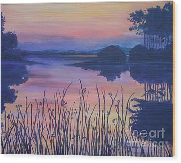 Wood Print featuring the painting Chincoteaque Island Sunset by Julie Brugh Riffey