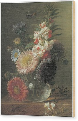 Chinese Aster And Balsam In A Glass Vase Wood Print by Cornelis Van Spaendonck