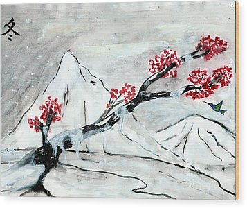 Chinese Brush Paint Winter Wood Print by Shashi Kumar