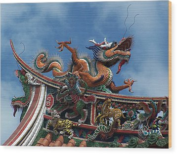 Chinese Dragon Wood Print by Steve Huang
