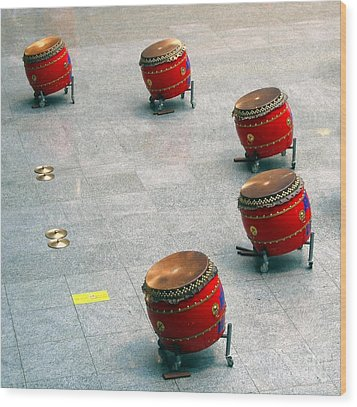 Chinese Drum Set Wood Print by Yali Shi