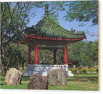 Wood Print featuring the photograph Chinese Gardens Garden Pavilion 21b by Gerry Gantt