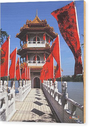 Wood Print featuring the photograph Chinese Gardens  North Pagoda 19c by Gerry Gantt