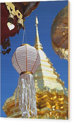 Wood Print featuring the photograph Chinese Lantern At Wat Phrathat Doi Suthep by Metro DC Photography