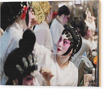 Chinese Opera Performers Prepare Wood Print by Justin Guariglia