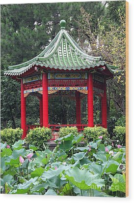 Chinese Pavilion And Lotus Flowers Wood Print by Yali Shi