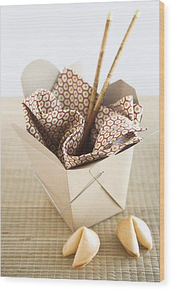 Chinese Takeout Container And Fortune Cookies Wood Print by Pam McLean