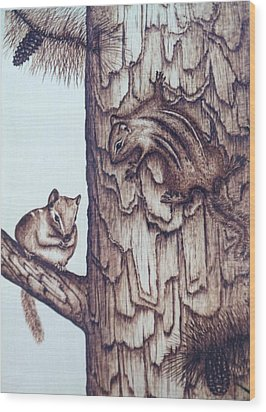 Chippy Love Wood Print by Susan Rice