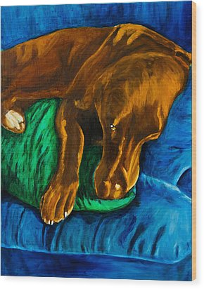 Chocolate Lab On Couch Wood Print by Roger Wedegis