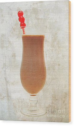 Chocolate Milk With Cherries On Top Wood Print by Andee Design