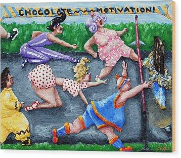 Chocolate Motivation Wood Print by Alison  Galvan