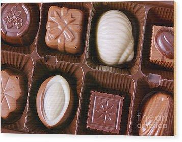Chocolates Closeup Wood Print by Carlos Caetano