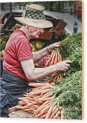 Choosing Carrots Wood Print by Norma Warden
