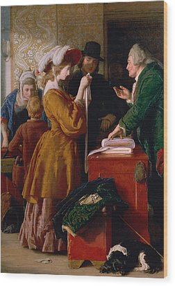 Choosing The Wedding Gown From Chapter 1 Of 'the Vicar Of Wakefield' Wood Print by William Mulready
