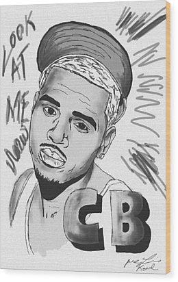 Chris Brown Cb Drawing Wood Print by Kenal Louis