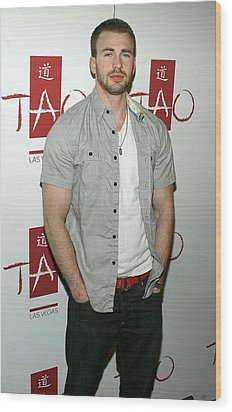 Chris Evans At Arrivals For Tao Partner Wood Print by Everett