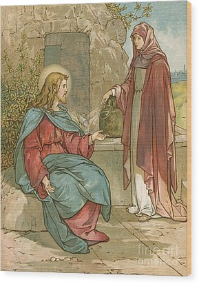Christ And The Woman Of Samaria Wood Print by John Lawson