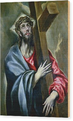 Christ Clasping The Cross Wood Print by El Greco