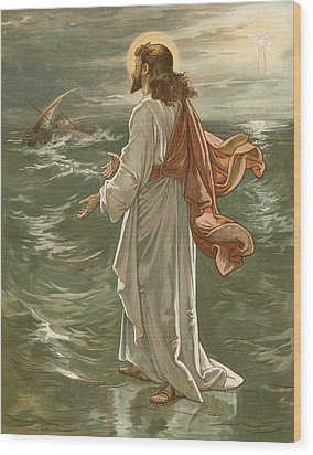 Christ Walking On The Waters Wood Print by John Lawson