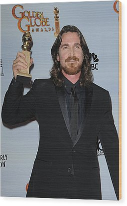 Christian Bale In The Press Room Wood Print by Everett