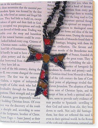 Christian  Cross Wood Print by Cynthia Amaral