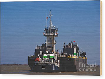Christiana Oil Tanker Sitting In Galveston Tx Wood Print by Susanne Van Hulst
