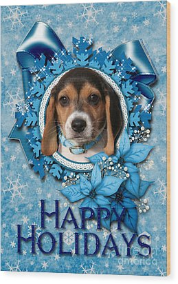 Christmas - Blue Snowflakes Beagle Puppy Wood Print by Renae Laughner