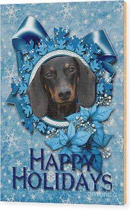 Christmas - Blue Snowflakes Dachshund Wood Print by Renae Laughner