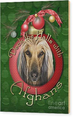 Christmas - Deck The Halls With Afghans Wood Print by Renae Laughner