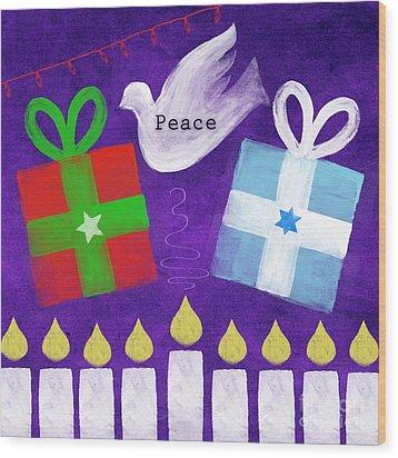 Christmas And Hanukkah Peace Wood Print