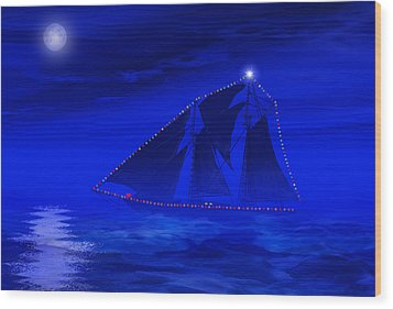 Christmas At Sea Wood Print by Carol and Mike Werner