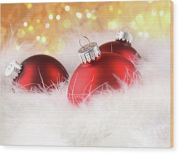 Christmas Balls With Abstract Holiday Background Wood Print by Sandra Cunningham