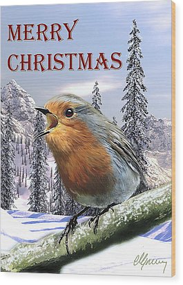 Christmas Card Red Robin Wood Print by Michael Greenaway