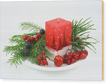 Wood Print featuring the photograph Christmas Composition With Wood Berries by Aleksandr Volkov