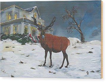 Christmas Elk Wood Print