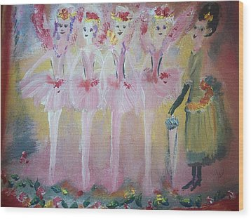 Christmas Eve Fairies Wood Print by Judith Desrosiers