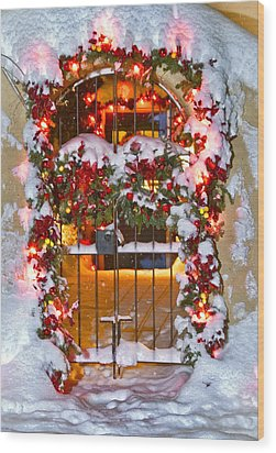 Christmas Gate Wood Print