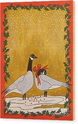 Christmas Geese Wood Print