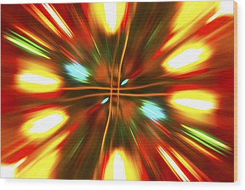 Wood Print featuring the photograph Christmas Light Abstract by Steve Purnell