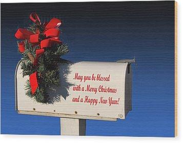 Christmas Mail Box Wood Print by Linda Phelps
