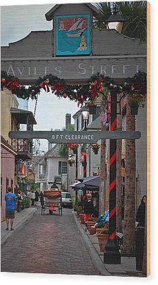 Christmas On Aviles Street Wood Print by DigiArt Diaries by Vicky B Fuller