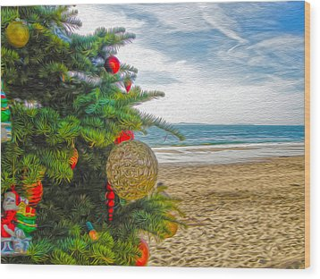 Christmas On The Beach Wood Print by Gregory Dyer