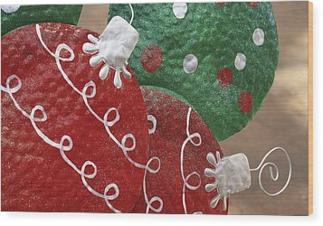 Christmas Ornaments Wood Print by Patrice Zinck