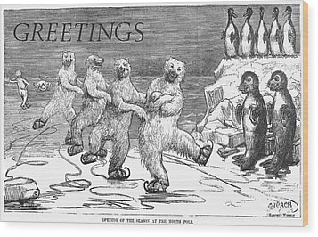 Christmas: Polar Bears Wood Print by Granger