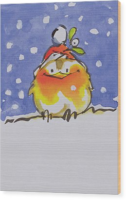 Christmas Robin Wood Print by Diane Matthes